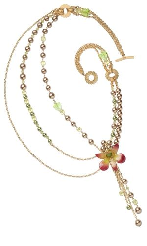 Triple-Strand Necklace with Orchid Pendant, Swarovski® Crystal and Pearl Beads and 14Kt Gold-Filled Chain