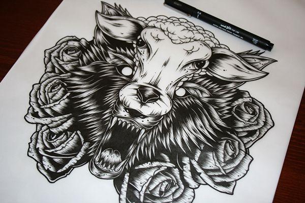 Wolf In Sheep S Clothing On Behance Animal Tattoos Wolf Tattoos Sheep Tattoo
