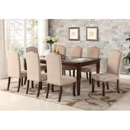 9 Piece Cherry Wood Contemporary Rectangular Dinette Dining Room