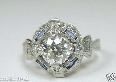 Antique European Diamond Sapphire Platinum Engagement Ring | RE-616 by AntiqueJewelryCo on Etsy https://www.etsy.com/listing/255799952/antique-european-diamond-sapphire