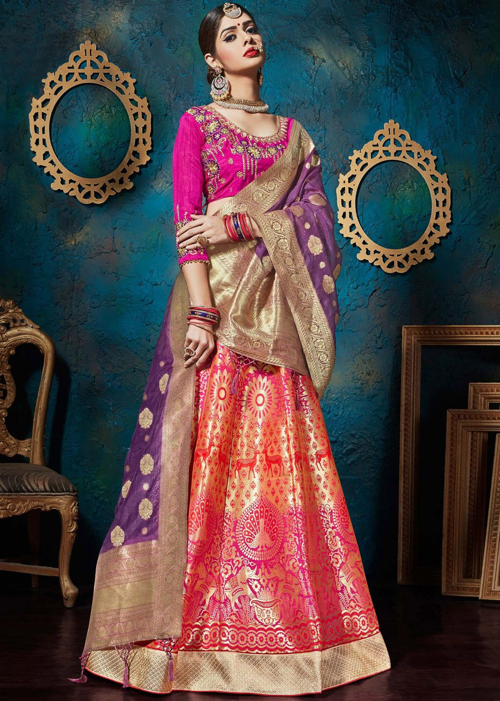 cd655dc446 #Multicolor woven #banarasi #silk #lehenga paired with pink raw silk choli  enhanced by light embroidery.