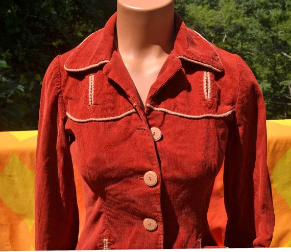 vintage 70's blouse western shirt CORDUROY rust yoke country cowgirl butterfly collar Small women