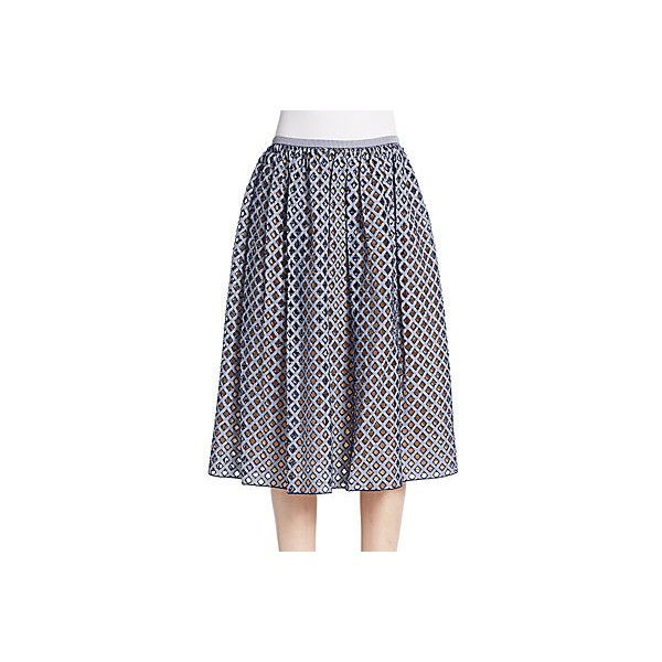 Michael Kors Gingham Perforated A-Line Skirt ($375) ❤ liked on Polyvore featuring skirts, michael kors, michael kors skirts, knee length a line skirt, blue pleated skirt and long pleated skirt