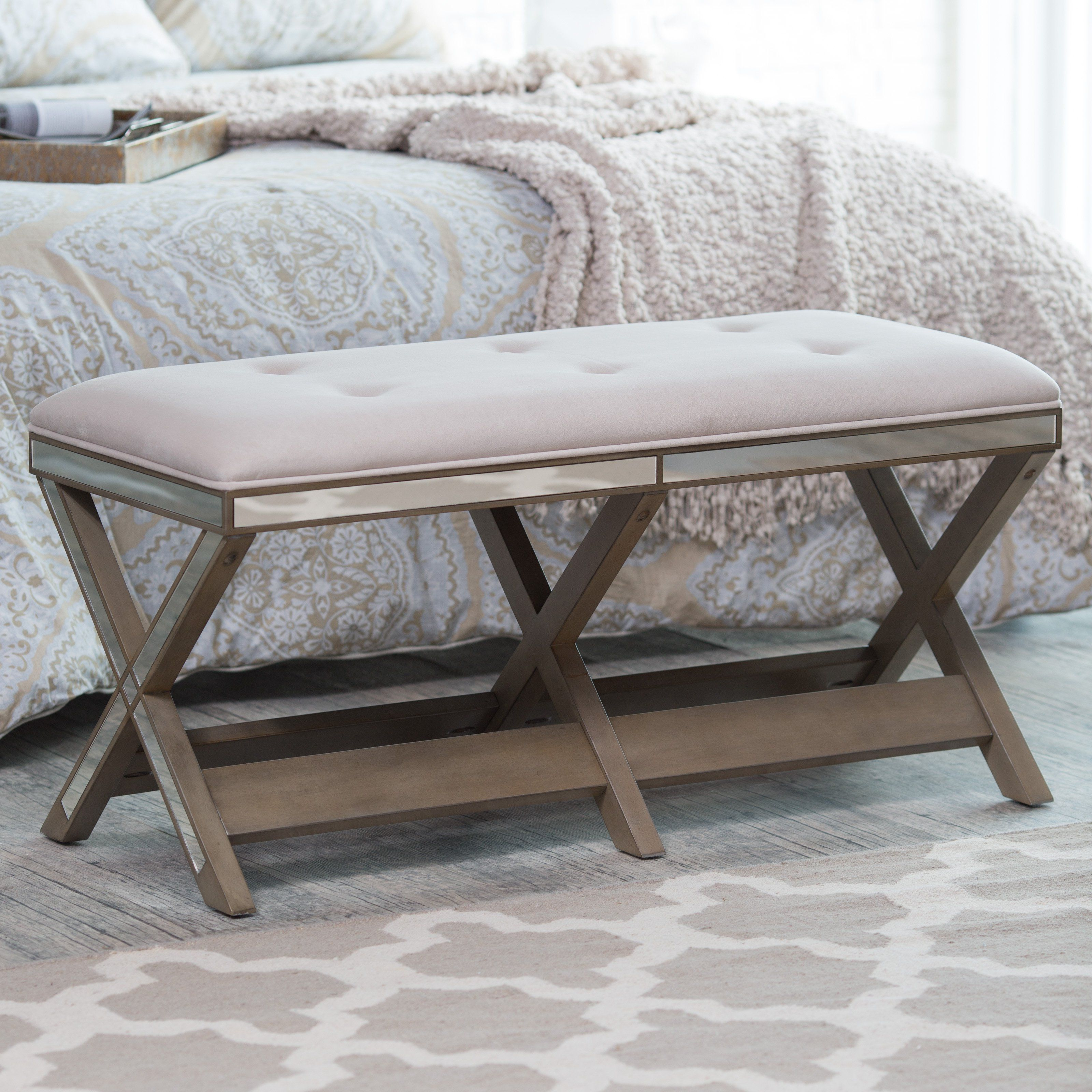Belham Living Cushioned Indoor Bench With Mirrored Frame Upholstered Bench Indoor Bench Benches For Sale