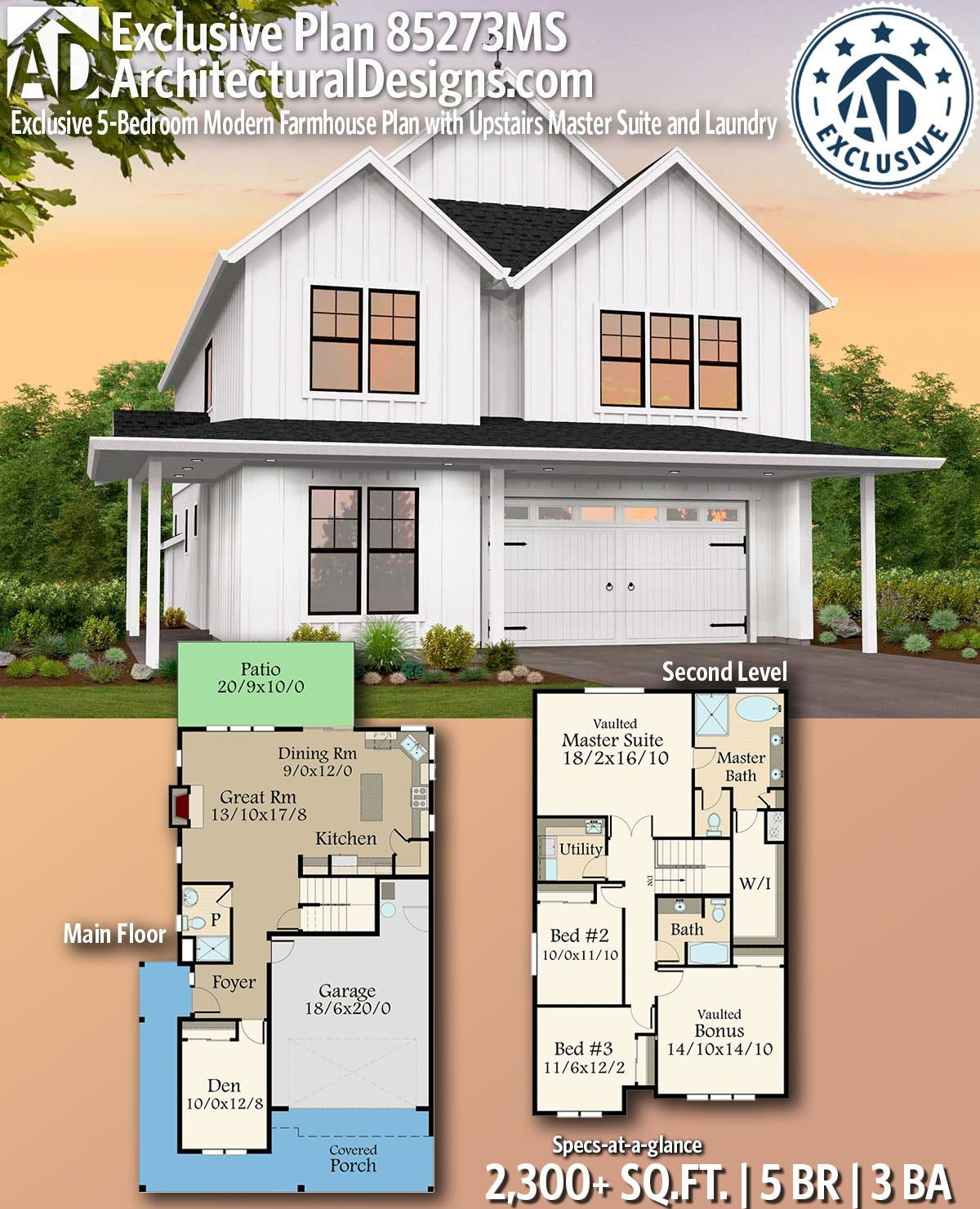 Plan 85273ms Exclusive 5 Bedroom Modern Farmhouse Plan With Upstairs Master Suite And Laundry Modern Farmhouse Plans Farmhouse Plans Modern Farmhouse Exterior