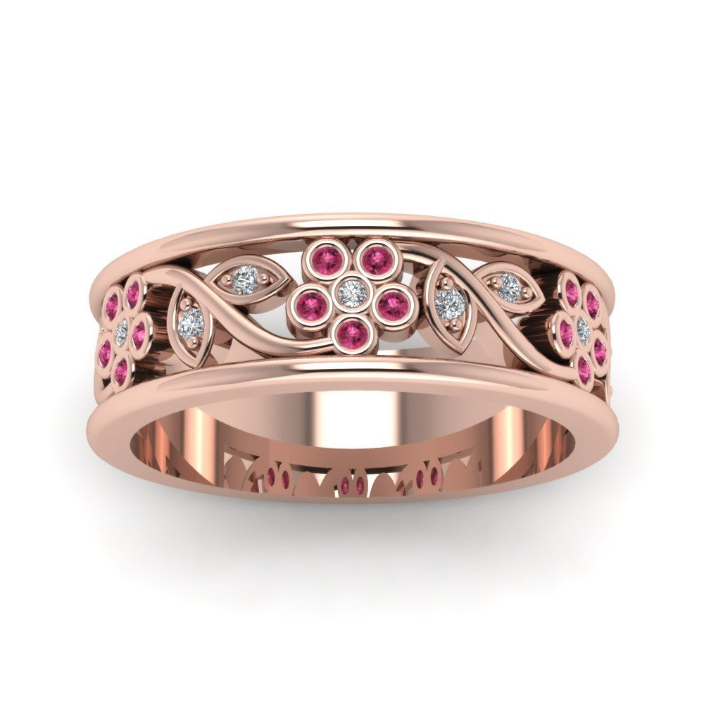 Nature Inspired Diamond Womens Wedding Bands with Pink Sapphire in 14K Rose Gold exclusively styled by  Fascinating Diamonds