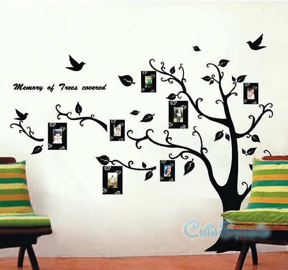 Lovely 6.5 FEET Tall Bodhi Tree With 7 Photo Frame Vinyl Wall Decal Sticker Art, Ideas