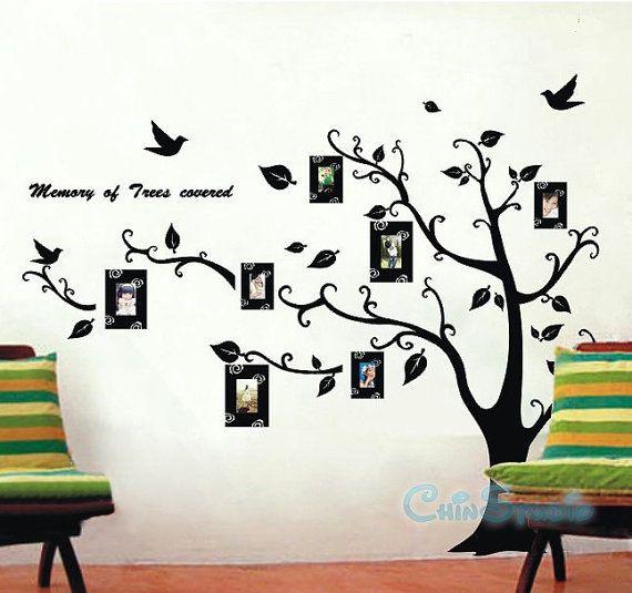 Wall Sticker Art 6.5 feet tall bodhi tree with 7 photo frame-vinyl wall decal