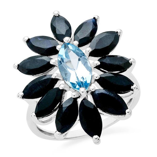 6.88 Carat Genuine Blue Topaz & Blue Sapphire Ring In Sterling Silver #Netaya #GemstoneRing