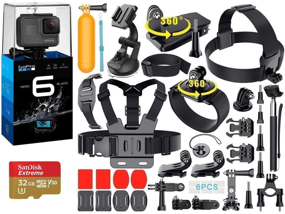 Gopro Hero 6 Black 40 Pcs Extreme Sports Accessory Kit Complete Bundle New Cameras Photo Camcorders Ebay Gopro Hero 4 Black Gopro Gopro Hero 4