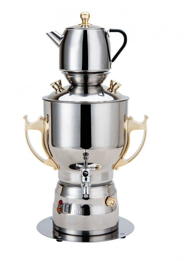 Large Persian Samovar Electric Tea Machine Stainless Steel Gold