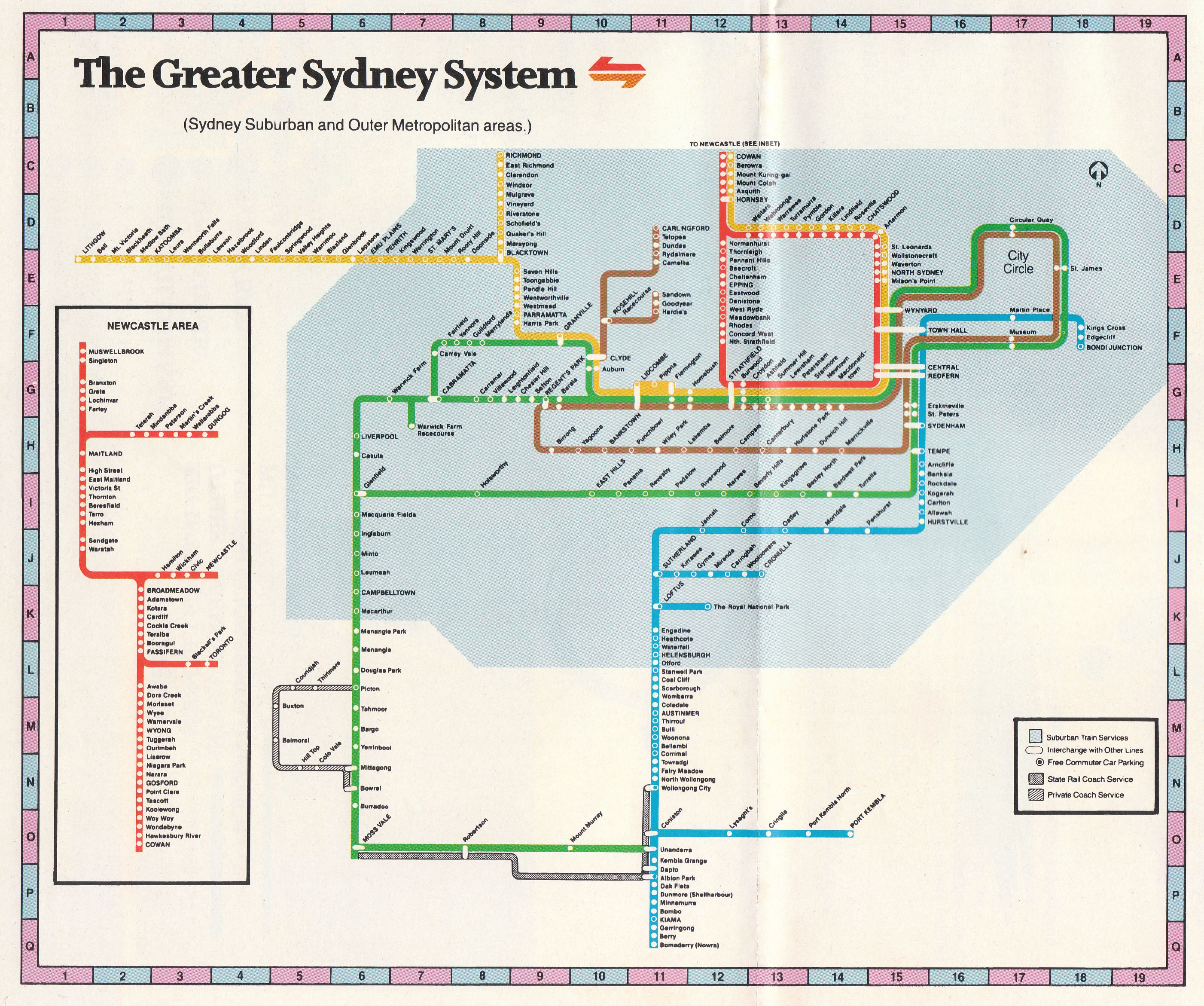 The Greater Sydney System rail network map - ca1980s ...