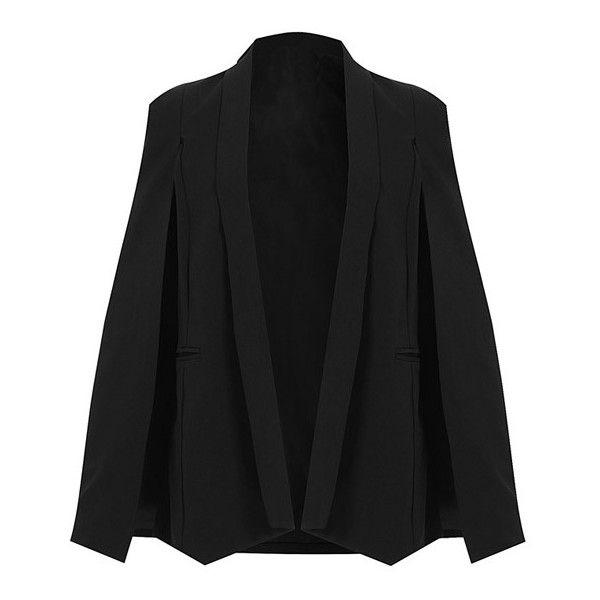 Split Sleeve Angled Hem Cape Blazer (€24) ❤ liked on Polyvore featuring outerwear, jackets, blazers, black, cape jacket, black cape blazer, black cape coat, black cape jacket and black blazer