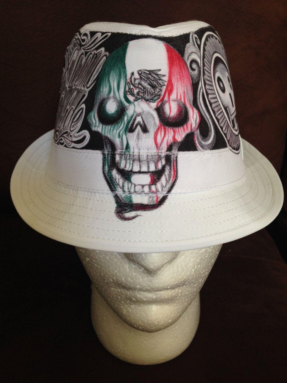 Aztec Culture design, Skulls, pyramids, Chicano Pride Brim