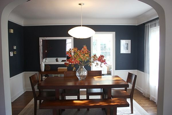 Navy blue dining room...wow gorgeous!