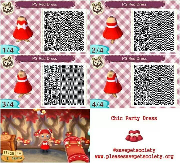 Happy Home Designer Tips: Animal Crossing ACNL QR Code Pet Society Red Dress