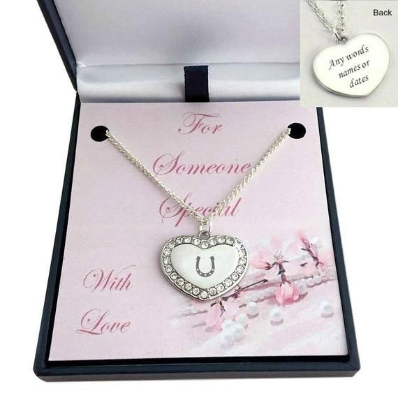Engraved Horse Shoe on Heart Necklace, Gift Boxed for Someone Special, Mummy, Nanny, Girlfriend, Dau