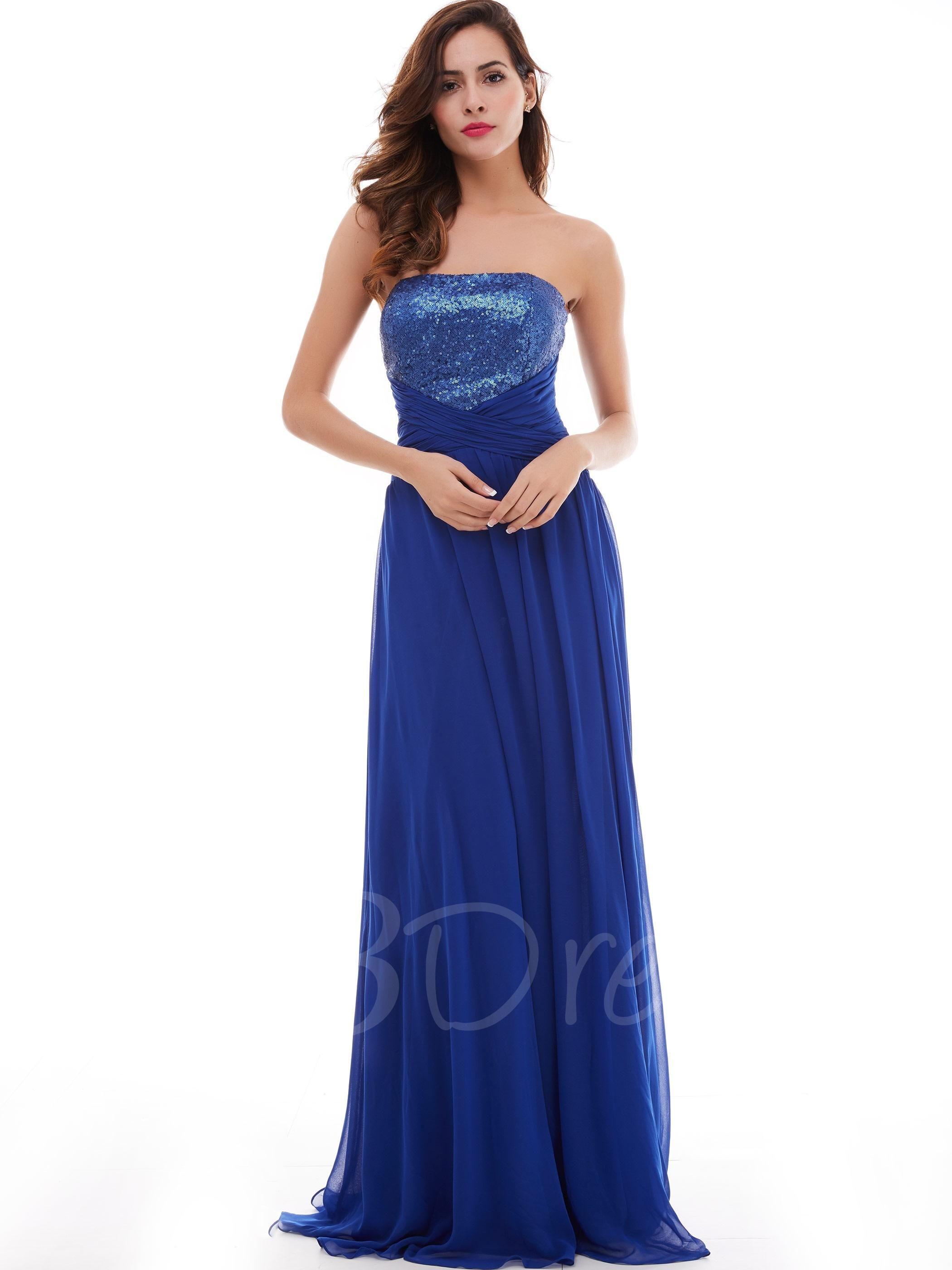 Tbdress tbdress aline strapless draped pleats sequins long prom