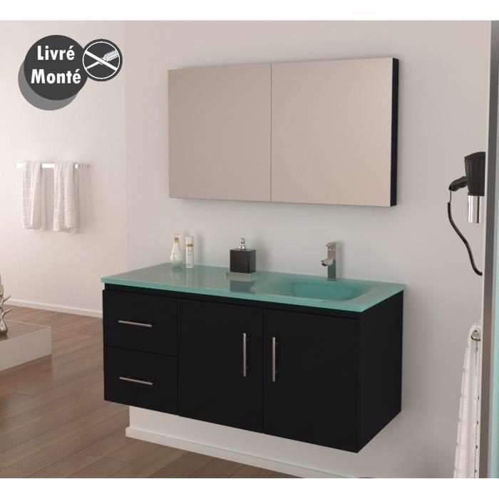 Meuble de salle de bain simple vasque noir laqué, 120 cm, livré