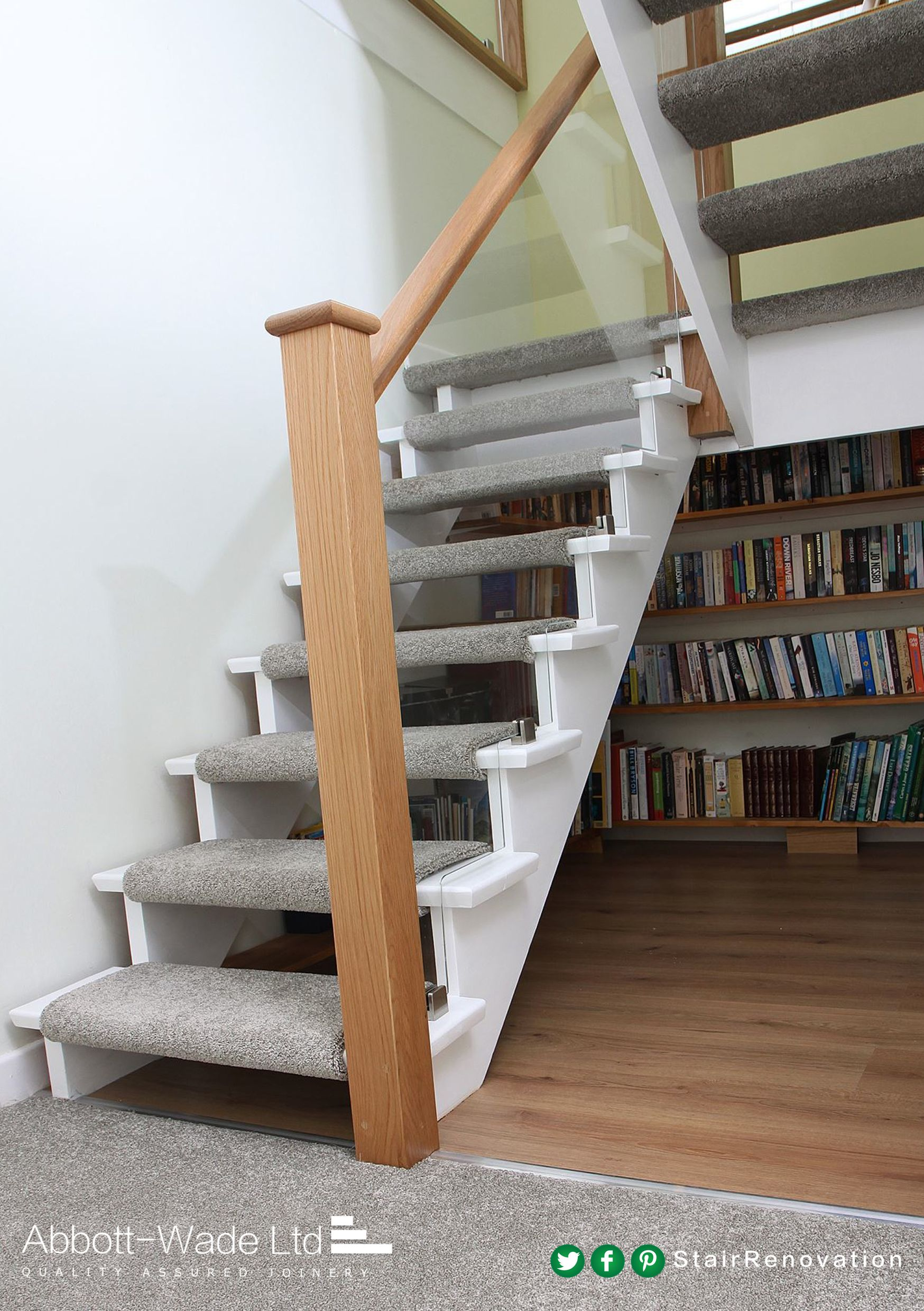 Open treads with carpet uses oak and painted wood to ...