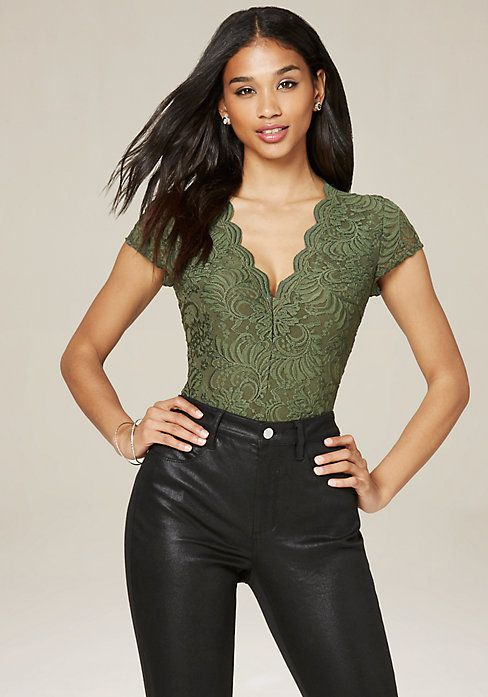 c03a09daefa8e1 Bebe Cap Sleeve Lace Bodysuit (green, black, white, blush) - $42 ...