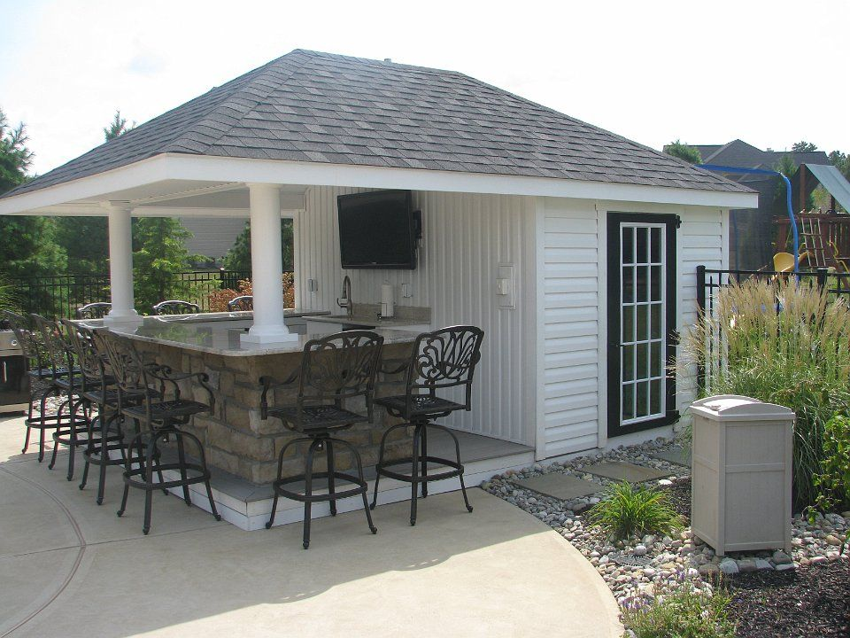 Bar sheds pool pinterest bar backyard and pool houses for Garden pool sheds