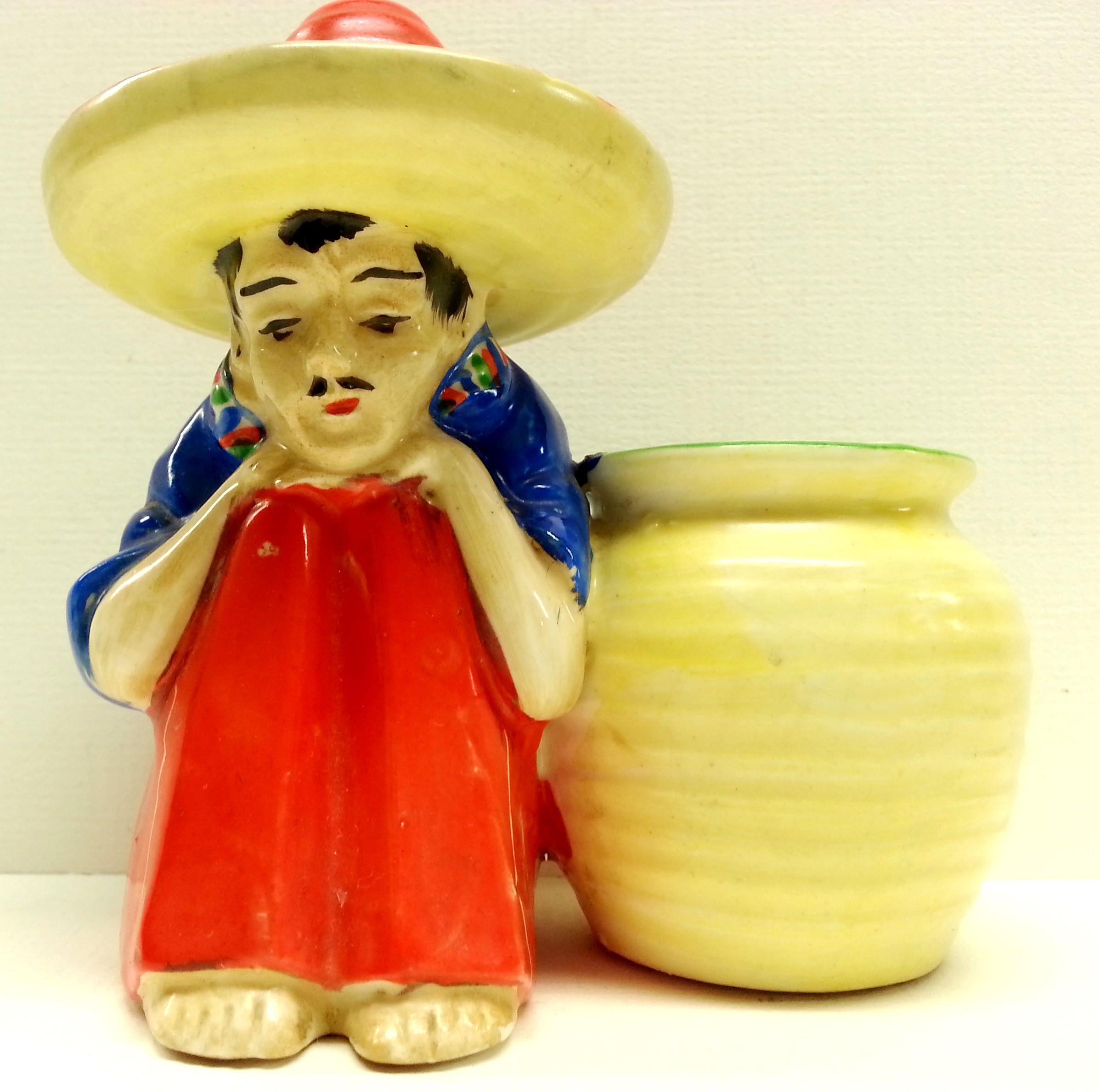 Small Mexican Man Amp Sombrero Pottery Planter Vintage Tiny