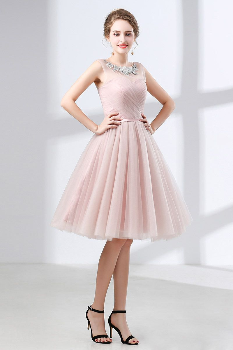2869f4feaae0 Only $105, Homecoming Dresses Cute Pink Knee Length Homecoming Dress Tulle  With Lace Neck #CH6636 at #GemGrace. View more special Special Occasion  Dresses ...
