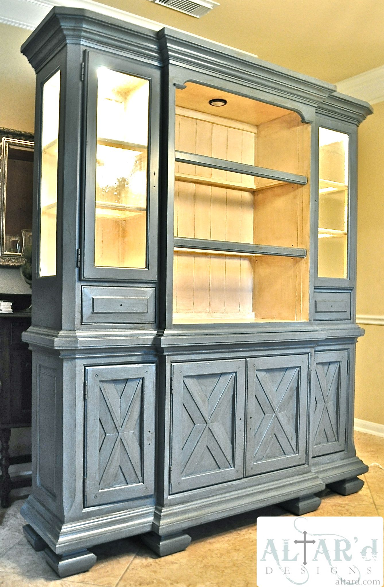 Before And After China Hutch Makeover Custom Painted Tuscan Cabi In Style