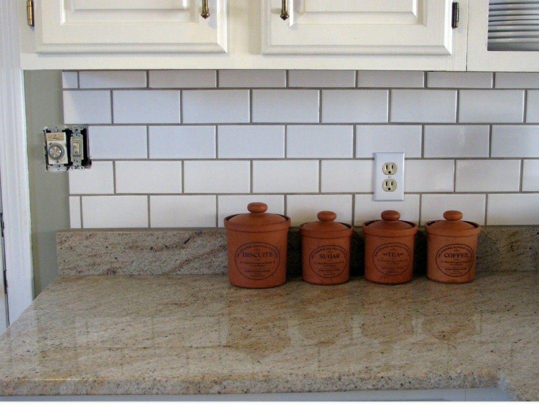 Checking Off The Backsplash Grey Grout White Subway Tile Kitchen White Brick Backsplash