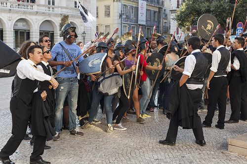 Lisbon - 32 | European Studies students having a Spartan stand-off against the Persian medics and vets