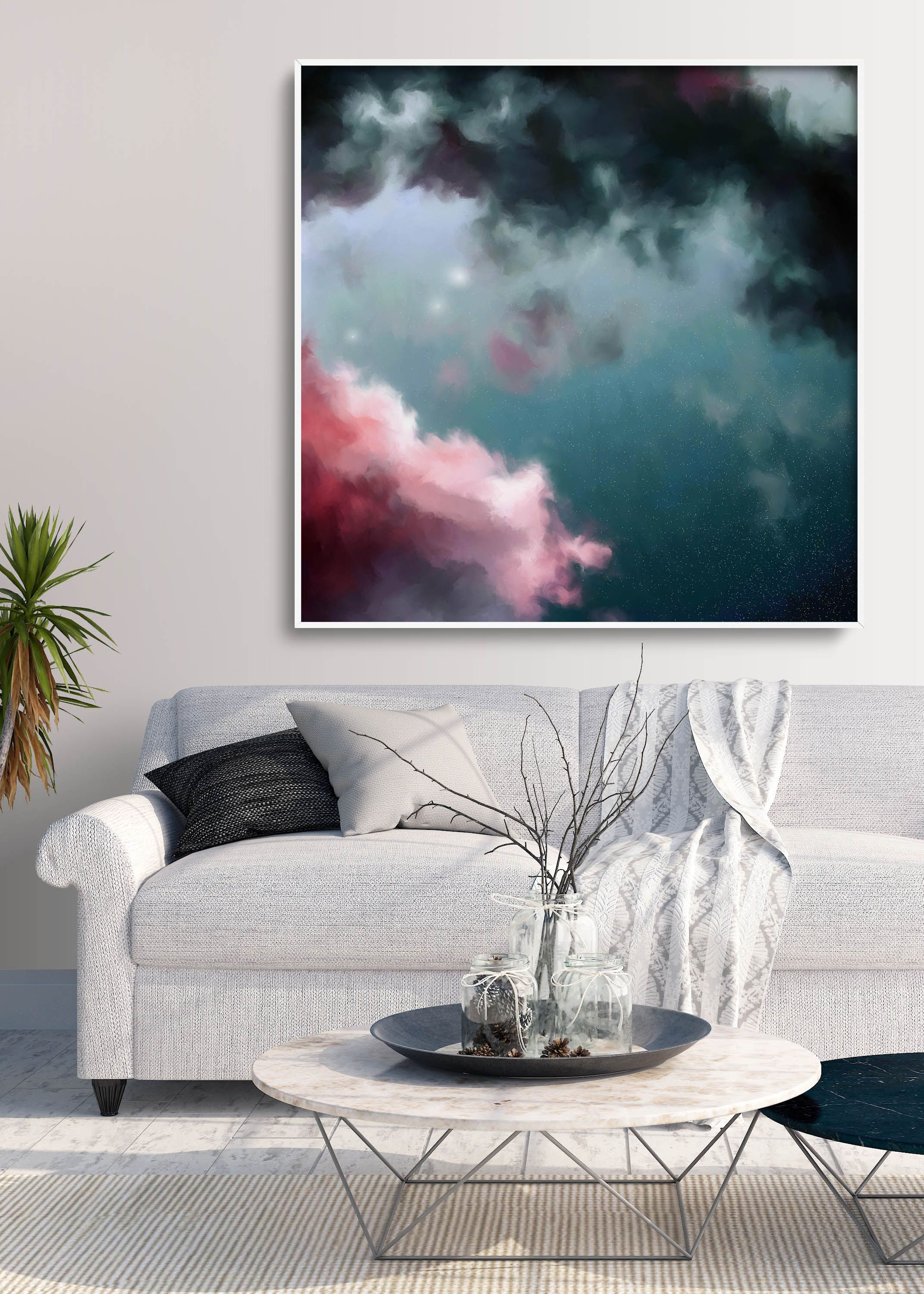Night Sky Painting, Fine Art Skyscape, Clouds Painting Print, Cloudscape