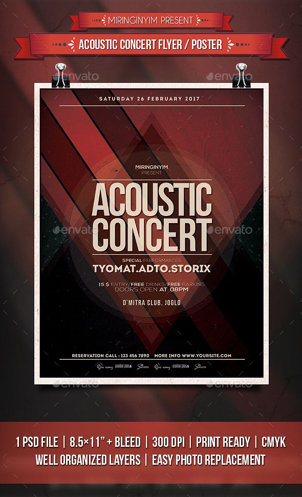 Acoustic Concert Flyer \/ Poster Concert flyer, Acoustic and - lost dog flyer template
