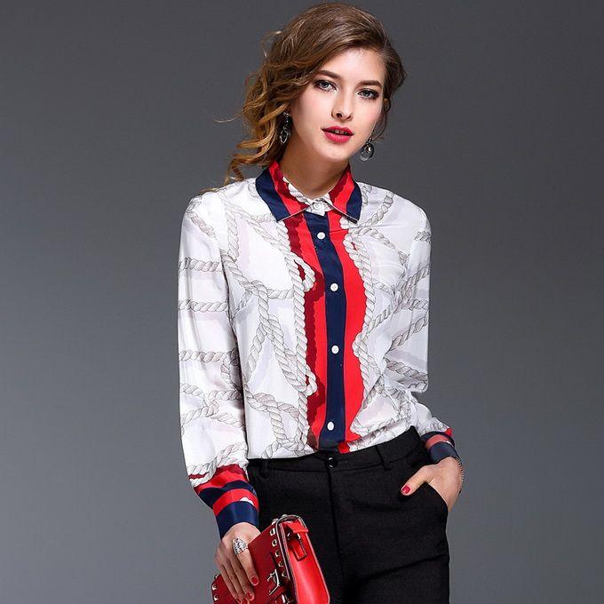 9fda641f New Tops Fashion Blouse Silk Shirt Women Turn-down Collar Print European  Ladies Loose Casual