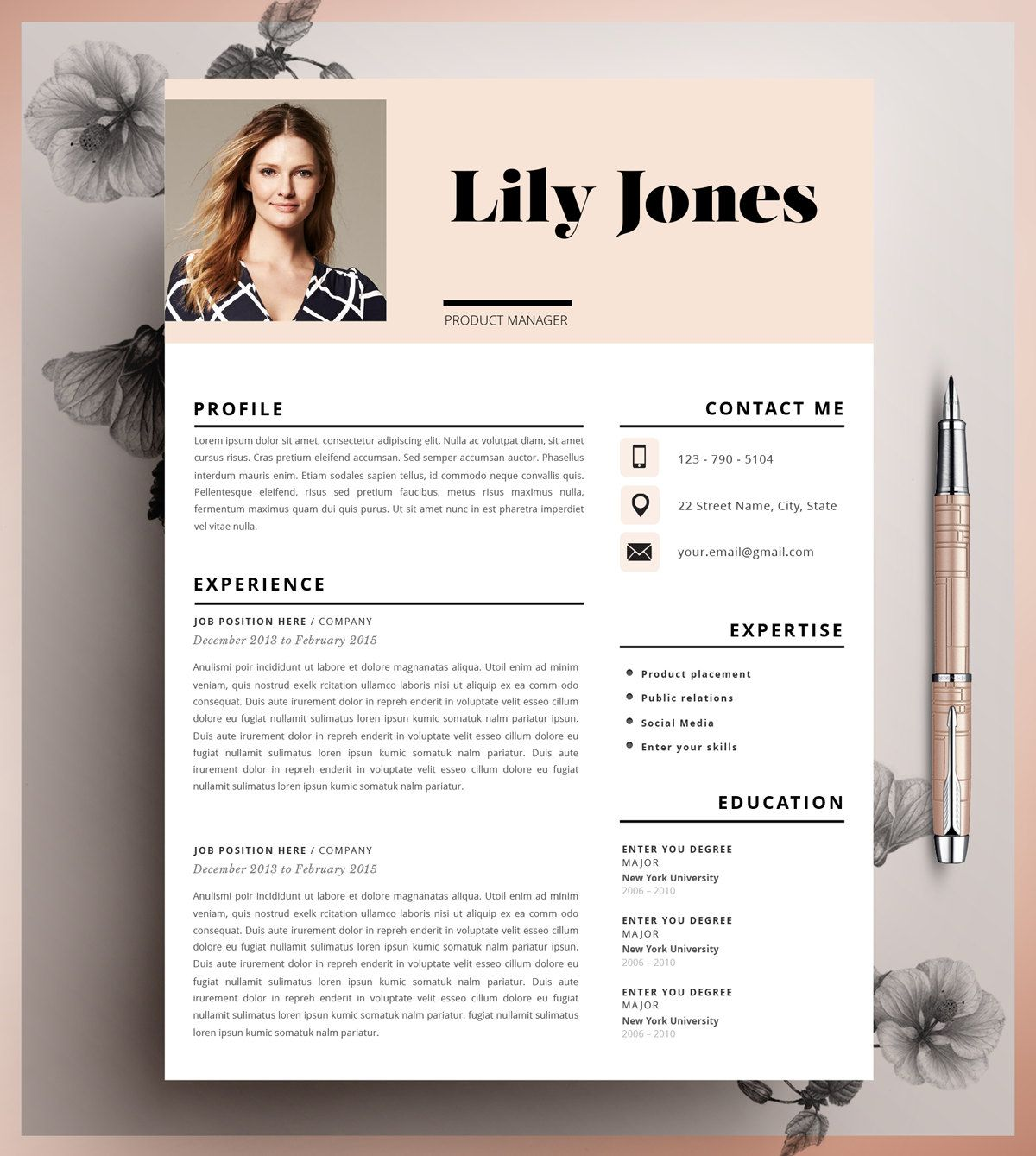 Resume Template Cv Template Editable In Ms Word And Pages  Resume