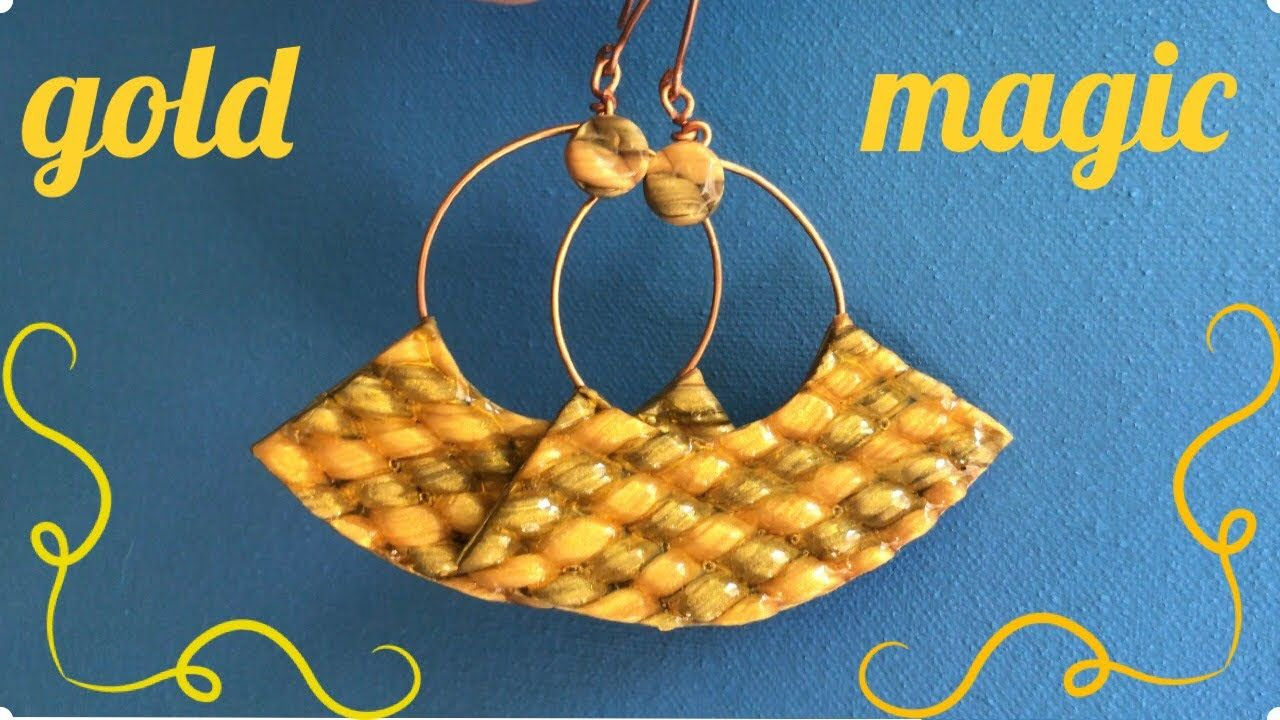 """""""Gold Magic """" Elegant Polymer Clay Earrings with Braided"""