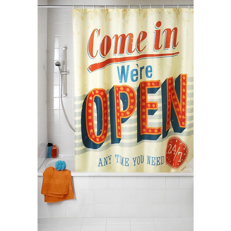 Wenko Vintage Open Anti Mildew 71x79 Polyester Shower Curtain