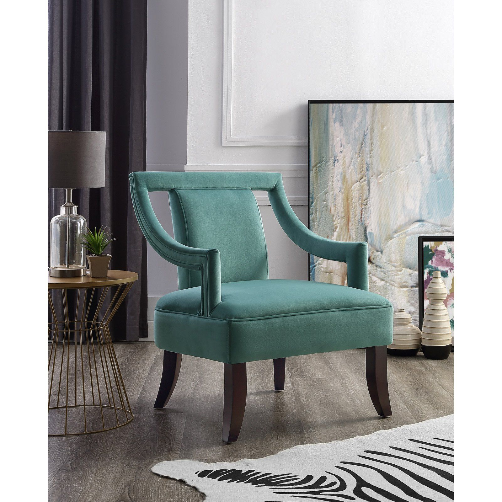 Best Inspired Home Isla Accent Chair Teal Blue Velvet Accent 640 x 480
