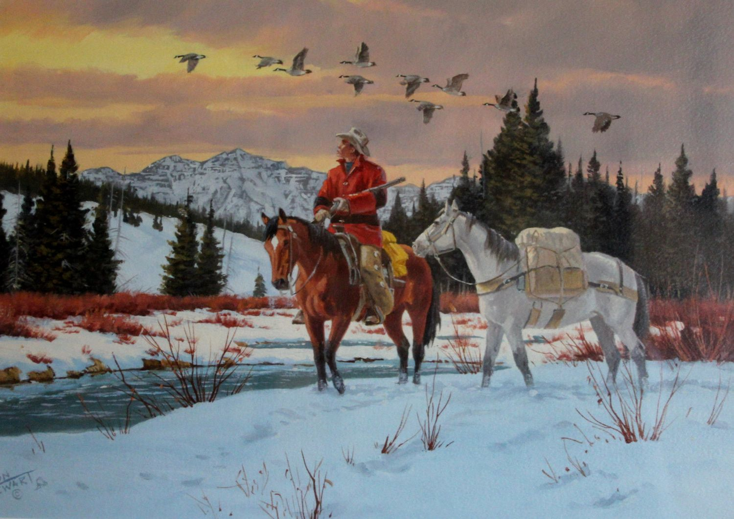 Ron Stewart Water Color Painting, Western American Water Color ...