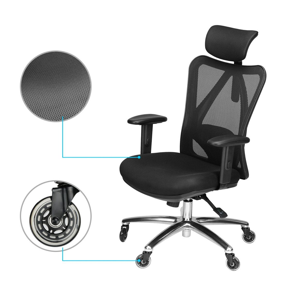 Duramont Ergonomic Adjustable Office Chair With Lumbar Support And