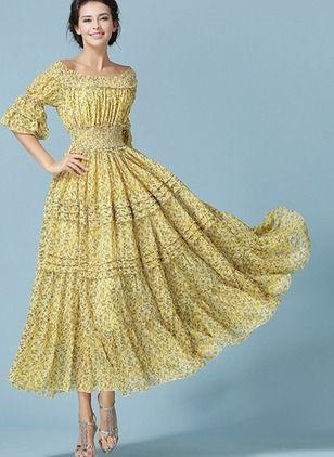 ec008766cf2 Mousseline de soie Florale Manches courtes Maxi Vintage Robes (1000189)    floryday.com
