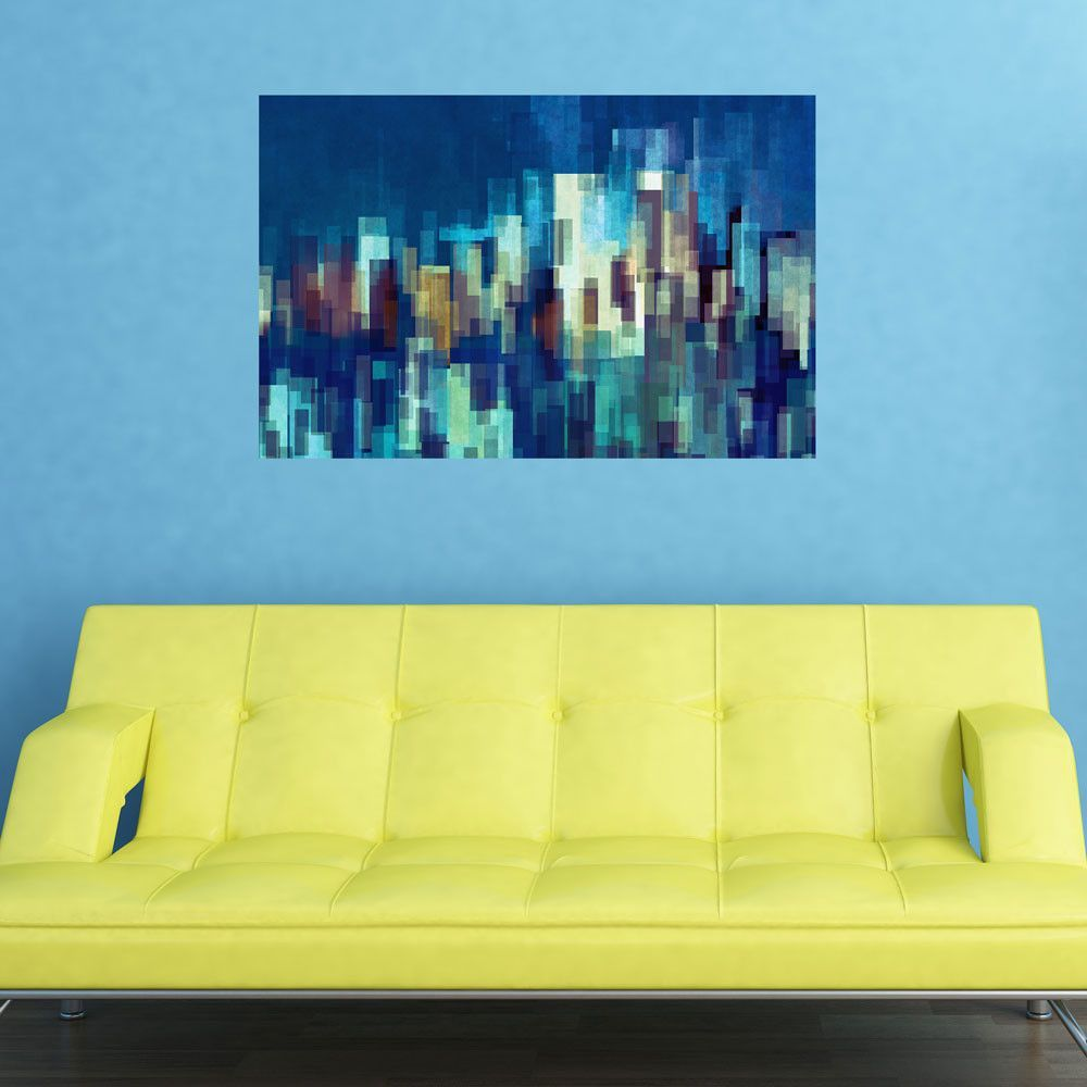 Abstract urban wall art city nights by dejareve furniture