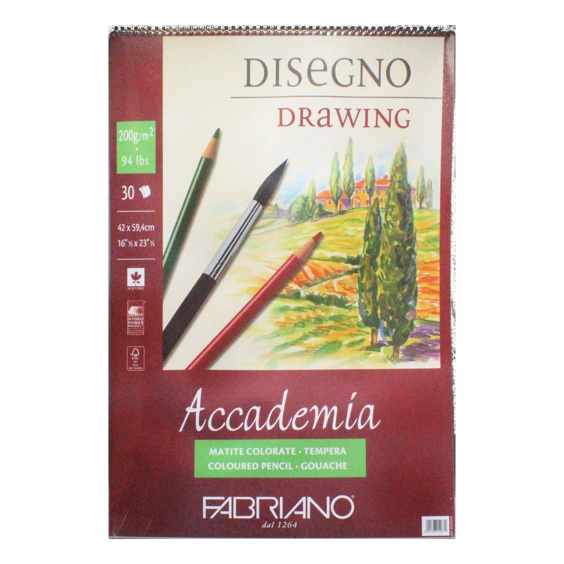 Fabriano Accademia 200gsm Spiral Bound Drawing Pad 30 Sheets