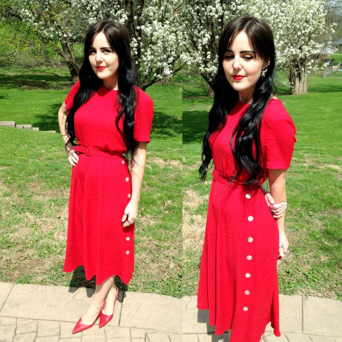 thrifted red dress, belt and shoes. vintage earrings!
