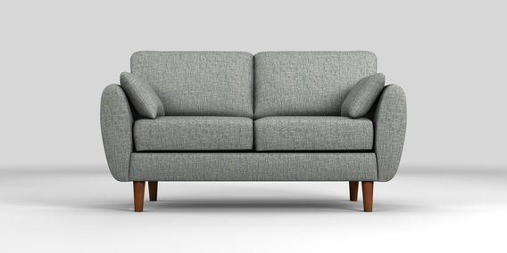 Buy Wilson Small Sofa 2 Seats Boucle Weave Dark Grey Low Retro