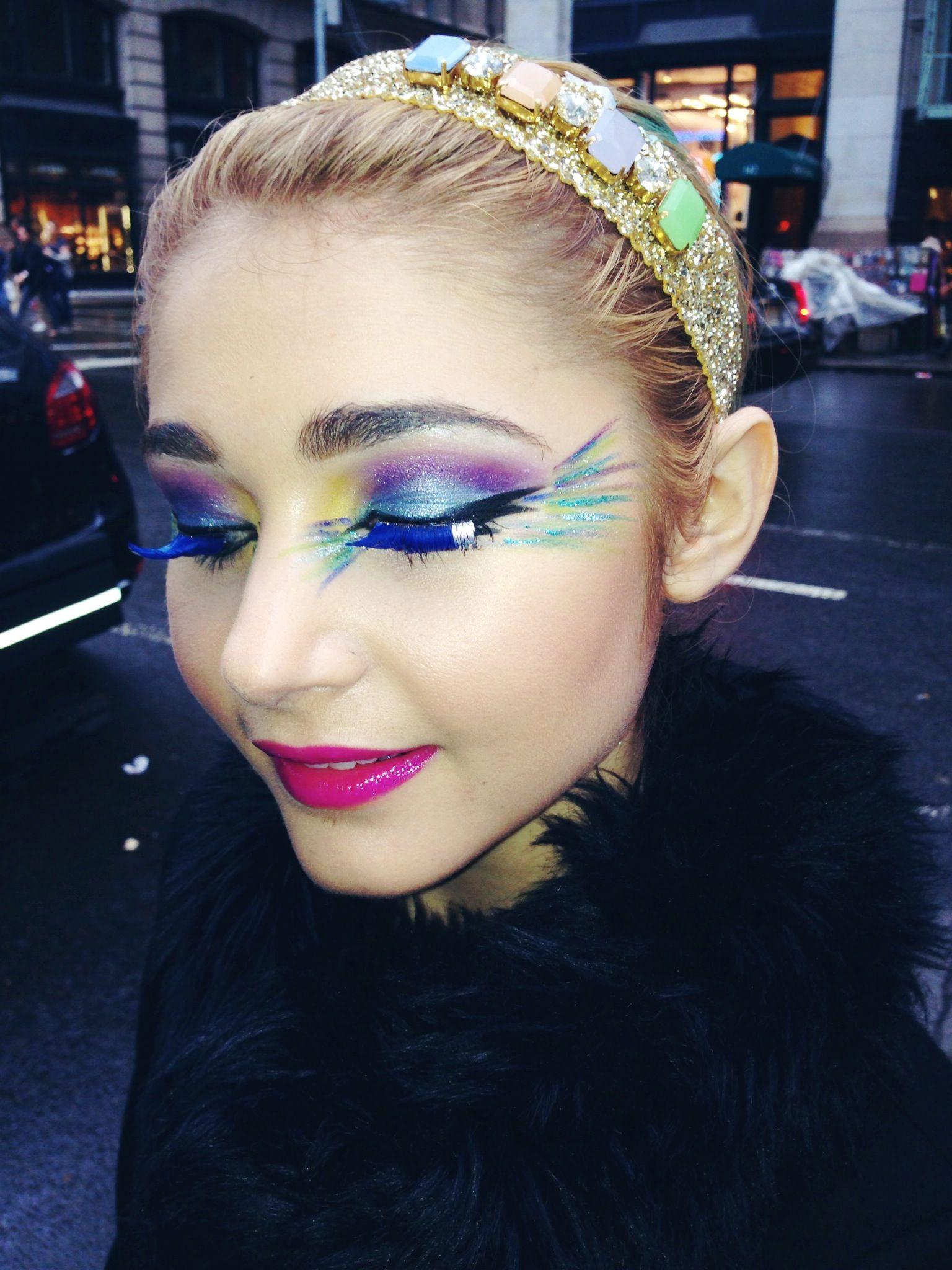 Peacock makeup look.