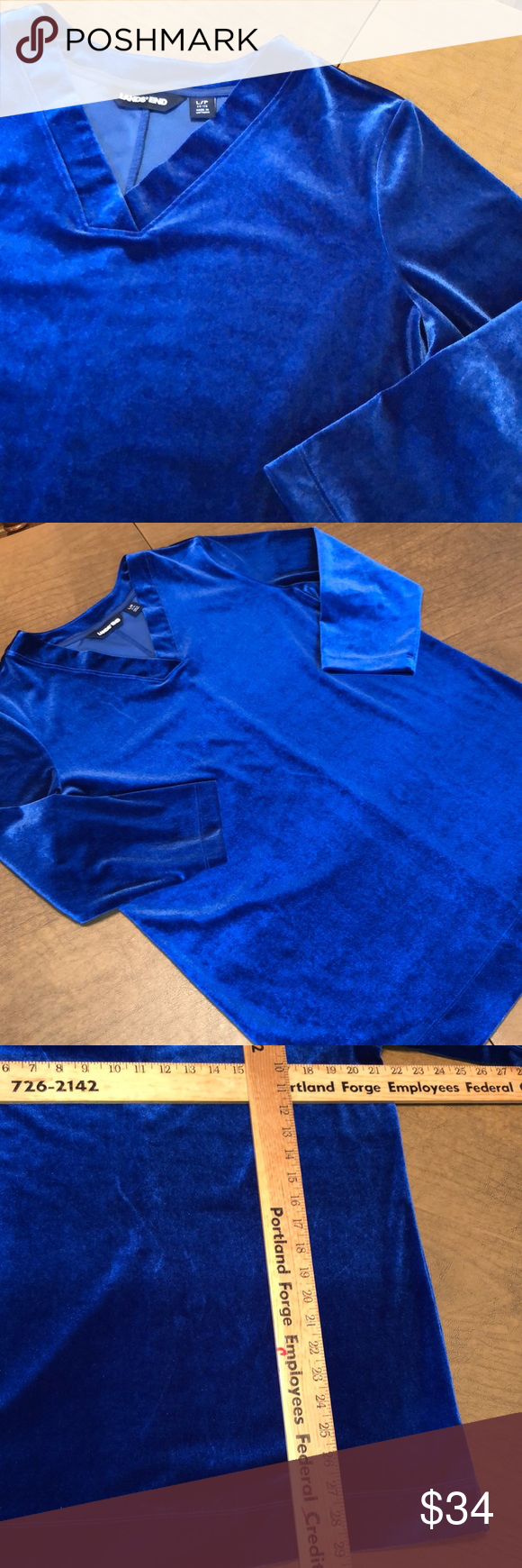 Lands End Royal Blue Velour Style Tunic Sweatshirt Tunic Sweatshirt Blue Velour Long Sleeve Shirt Tops [ 1740 x 580 Pixel ]
