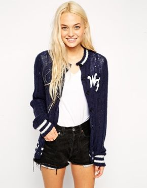 Wildfox Fitted Varsity Carigan With Back Detail