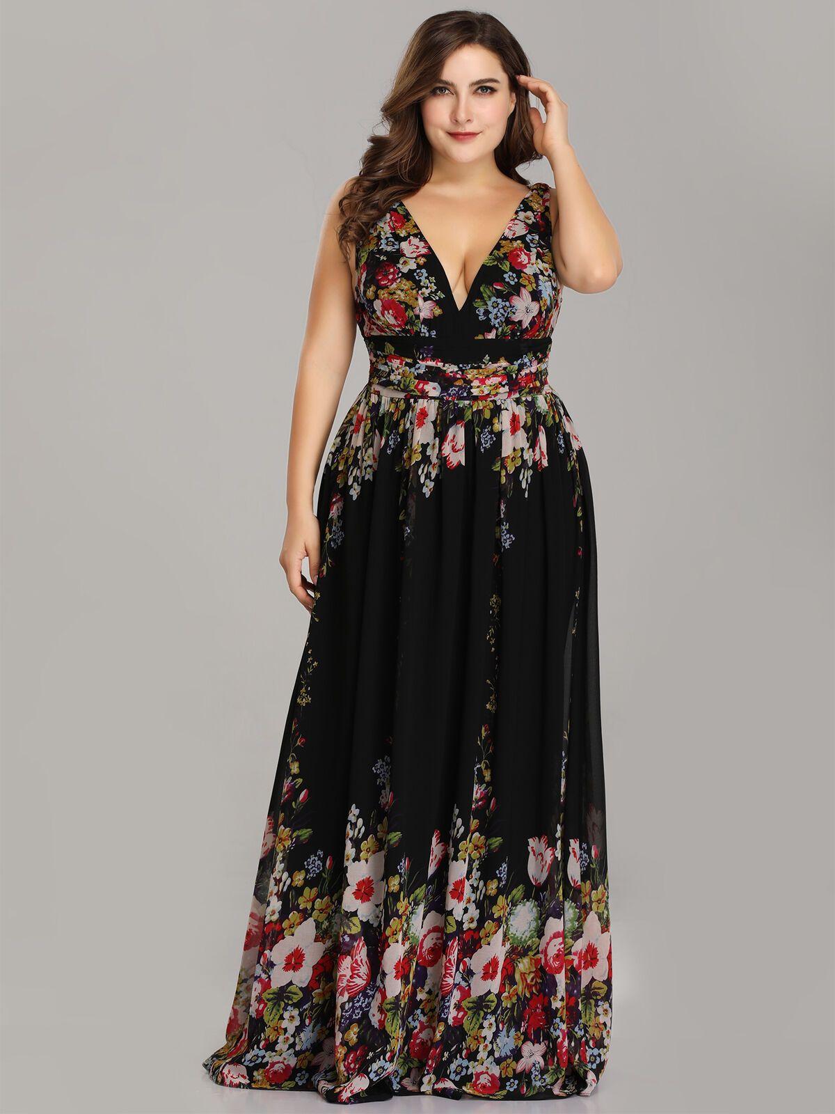 Ever Pretty US Long Floral Bridesmaid Sleeveless Dress ...