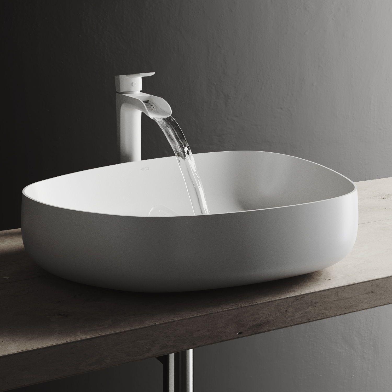 Vigo Peony Handmade Countertop Matte Stone Novelty Specialty Vessel Bathroom Sink In Matte White Vg04012 Amazing